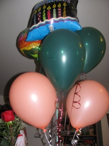 Balloons and a rose
