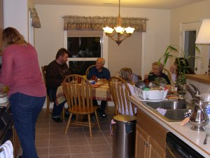 An after-dinner scene with jak's side of the family