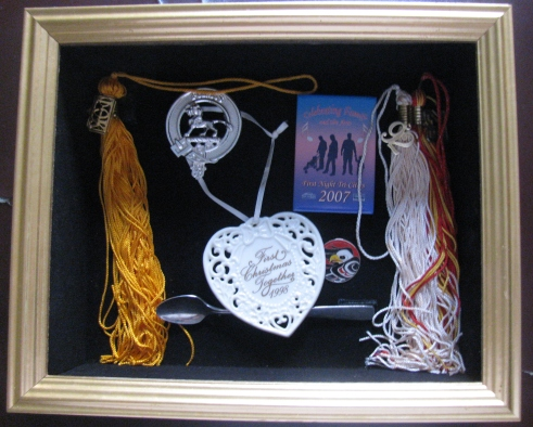 Our shadow box.  I removed the glass temporarily to get a good shot without reflections