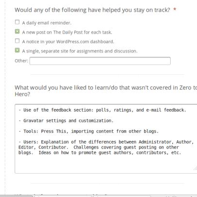 Screenshot of 10-question survey