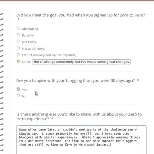 Screenshot of 3-question survey